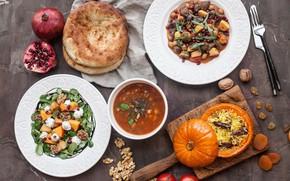 Picture soup, Garnet, salad, Cuts, pilaf, Pita