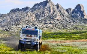 Picture The sky, Nature, Rocks, Mountain, Sport, Rock, Speed, Truck, Race, Master, Beauty, Russia, Beast, Kamaz, …