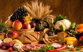 Wallpaper bow, grapes, apples, meat, eggplant, bread, cucumbers, spikelets, vegetables, mushrooms, oil, lemon, pepper
