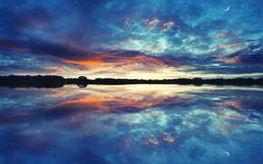 Picture the sky, water, stars, clouds, reflection, lake, river, the moon, photoshop, the evening