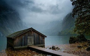 Picture Mountains, Fog, Lake, Forest, House, Shore, Landscape