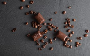 Picture Chocolate, coffee beans, wooden background