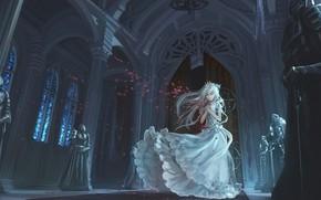 Picture girl, castle, anime, art