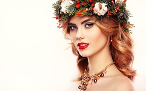 Picture look, girl, face, makeup, hairstyle, decoration, needles, wreath, bumps