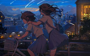 Picture the sky, bike, the city, two, home, the evening, Japan, Schoolgirls, friend, trip, the light …