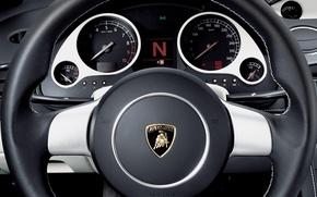 Picture Lamborghini, the wheel, Gallardo, dashboard