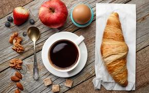 Wallpaper apples, coffee, Breakfast, nuts, breakfast, croissant