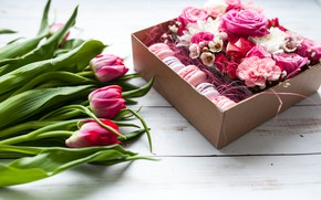 Picture flowers, box, roses, bouquet, tulips, pink, flower, wood, macaroon, beauti