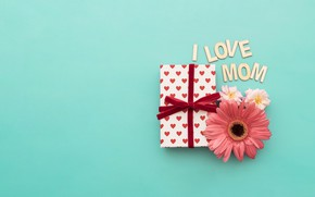 Wallpaper Mothers day, heart, love, box, mom, flower, gift, happy, hear, design, gift, family, holiday, flowers, ...
