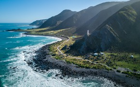 Picture coast, The ocean, Road, Lighthouse, Mountain, New Zealand, New Zealand, Landscape, North Island, Coastline, Cape …