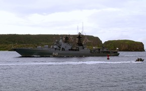Picture large anti-submarine ship, combat service, Marshal Shaposhnikov