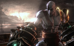 Picture game, Kratos, God of War, man, spartan, warrior, god, God of War 3, powerful, strong, …