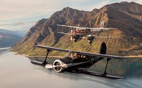 Picture flight, landscape, mountains, biplane, Beech C-17B Staggerwing, de Havilland DH89 Dragon