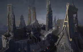 Picture city, roof, tower, settlement, Slums