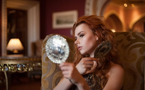 Picture girl, red, redhead, the mirror, Sohaib Syed