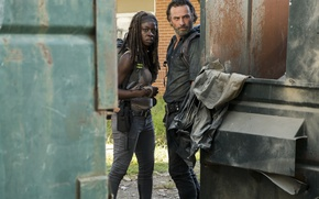 Picture The Walking Dead, Andrew Lincoln, Michonne, Danai Gurira, Rick, Season 7