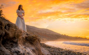 Wallpaper dress, coast, shore, the sky, waiting, girl, sea