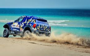 Picture Sand, Sea, Beach, Auto, Mini, Sport, Machine, Speed, Race, Rally, SUV, Rally, 206, X-Raid Team, …