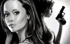 Wallpaper The Sarah Connor Chronicles, Terminator, girl, figure, gun, art, Summer Glau, black and white, Summer ...