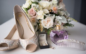 Picture bouquet, earrings, perfume, shoes, wedding