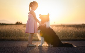 Picture light, dog, girl