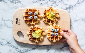 Picture berries, blueberries, Board, cream, waffles
