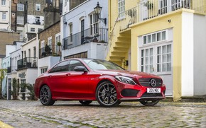 Picture red, house, Mercedes-Benz, red, Mercedes, AMG, 4MATIC, C 43
