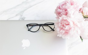 Picture flowers, apple, bouquet, glasses, laptop, marble, pink, flowers, peonies, peonies, tender, marble