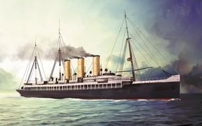 Picture wave, ship, Transatlantic Ships, furst bismarck