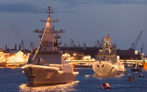 Wallpaper ships, Neva, illumination, Navy day