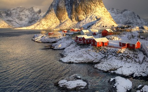 Picture winter, snow, mountains, rocks, Norway, the village, the fjord, The Lofoten Islands