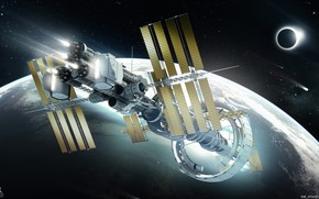 Picture planet, station, Spaceship concept