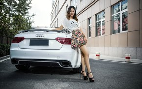 Picture look, Audi, Girls, Asian, beautiful girl, is above the machine, white car