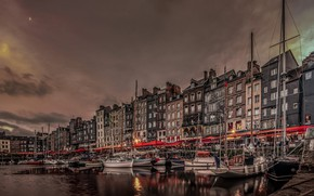 Picture night, lights, France, home, boats, Normandy, the old harbour, Honfleur