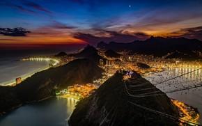 Picture the sky, night, lights, Brazil, the view from the top, Rio de Janeiro, Rio de …