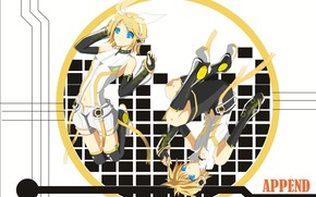 Picture background, cell, two, Vocaloid, Vocaloid, Kagamine Len, Kagamine Rin