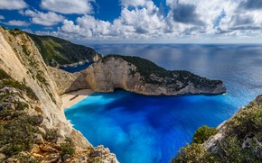 Picture beach, rocks, island, Greece, The Ionian sea, Zakynthos, Shipwreck