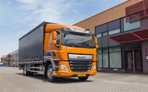 Picture road, the sky, clouds, orange, the building, body, DAF, DAF, platform, 4x2, Euro6, DAF CF ...