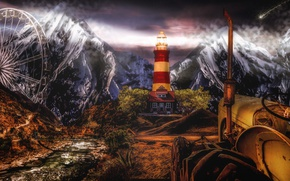 Picture mountains, lighthouse, wheel, art, comet, tractor