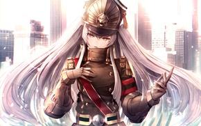 Picture girl, weapons, form, red eyes, long hair, anime, art, chiwa, re:creators, gunpuku no himegimi