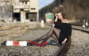 Picture girl, railroad, Iryna