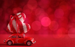 Wallpaper red, love, heart, background, romantic, bokeh, valentine's day