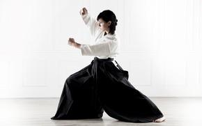 Picture sport, woman, kimono, beautiful, athlete, bokeh, martial art, wallpaper., gray background, Aikido, hakama, Aikido, Svetlana …