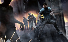 Picture fiction, infection, machine, zombies, male, biohazard, Resident Evil, capcom, chris redfield, bsaa