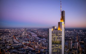Picture view, skyscrapers, Germany, panorama, bridges, Germany, Frankfurt am main, Frankfurt am Main
