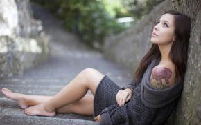 Picture girl, reverie, mood, tattoo, shoulder, Andreina Togni