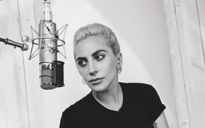 Picture photo, makeup, t-shirt, hairstyle, black and white, microphone, singer, Studio, Lady Gaga, Lady GaGa, music …