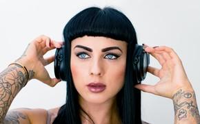 Picture face, hair, makeup, headphones, tattoo