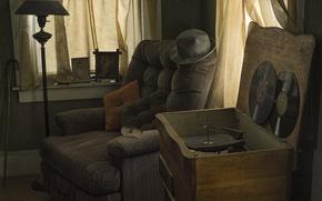 Wallpaper room, chair, vinyl, record player
