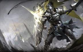 Picture sword, fantasy, soldier, armor, weapon, Warrior, battle, digital art, artwork, shield, fantasy art, knight, pearls